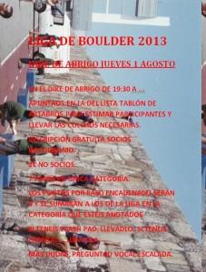 Cartel Liga Boulder 2013